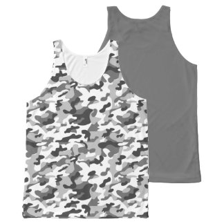 Trendy Black, White & Grey Camo Print Sports All-Over Print Tank Top