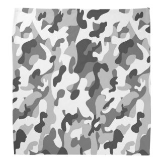 Trendy Black, White & Grey Camo Print Sports Head Kerchiefs