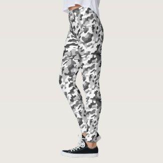 Trendy Black, White & Grey Camo Print Sports
