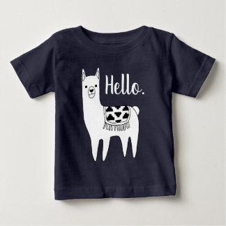 Trendy Black & White Llama Sketch Hello Baby T-Shirt