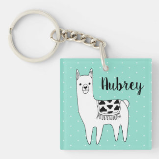 Trendy Black & White Llama & Swiss Dots in Mint Key Ring