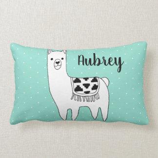 Trendy Black & White Llama & Swiss Dots in Mint Lumbar Cushion