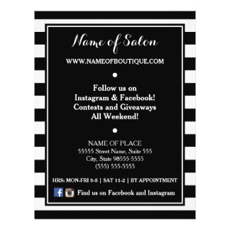 Trendy Black White Stripes Hair Salon Events Flyer