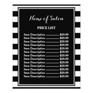 Trendy Black White Stripes Hair Salon Price List Flyer