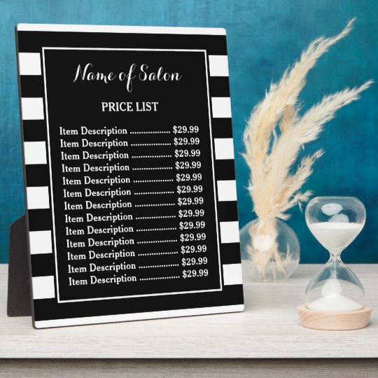 Trendy Black White Stripes Hair Salon Price List Plaque