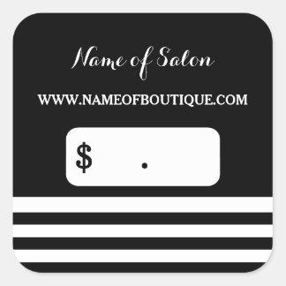 Trendy Black White Stripes Hair Salon Price Tags Square Sticker