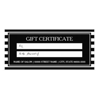 Trendy Black White Stripes Salon Gift Certificate 10 Cm X 23 Cm Rack Card
