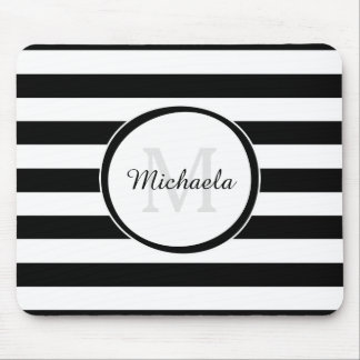 Trendy Black White Stripes With Monogram and Name Mouse Pad
