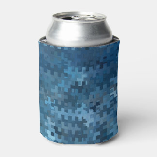 Trendy Blue Abstract Pattern Can Cooler