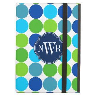 Trendy Blue and Green Polka Dot Pattern Monogram iPad Air Case