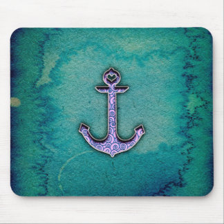 Trendy Blue and teal watercolor Heart Anchor Mouse Mat