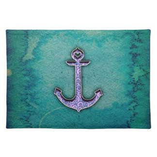 Trendy Blue and teal watercolor Heart Anchor Placemat