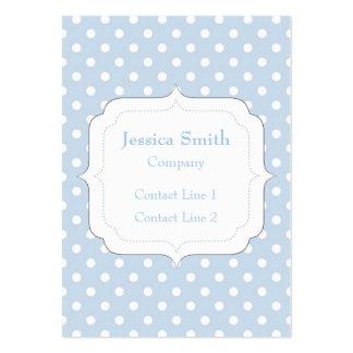 Trendy Blue and white polka dot Monogram Business Card