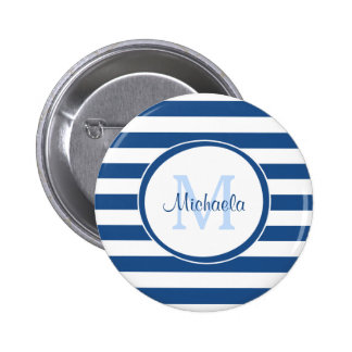 Trendy Blue and White Stripes Monogram With Name 2 Inch Round Button