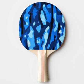 Trendy Blue Camo Abstract Pattern Ping Pong Paddle