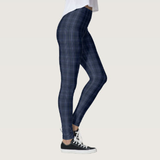 trendy blue check fabric textured leggings