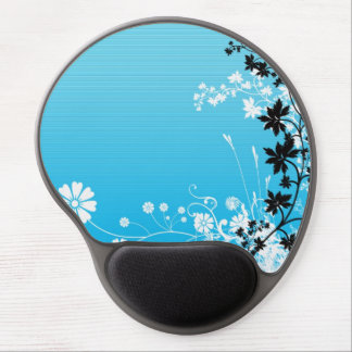 Trendy Blue Floral Design Gel Mouse Mat