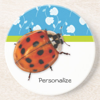 Trendy Blue Floral Ladybug With Name Coaster