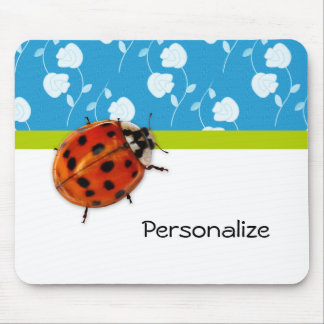 Trendy Blue Floral Ladybug With Name Mouse Mat