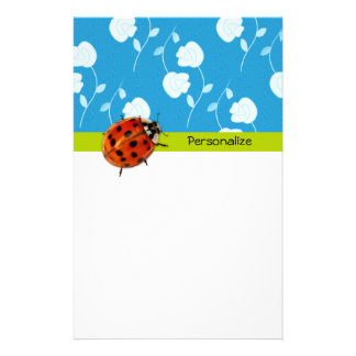 Trendy Blue Floral Ladybug With Name Stationery