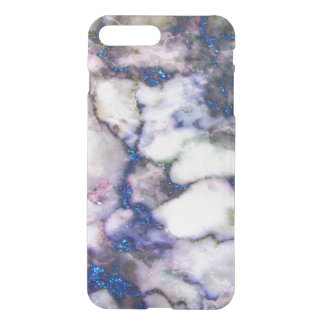 Trendy Blue Glitter Gray And Pink Marble iPhone 8 Plus/7 Plus Case
