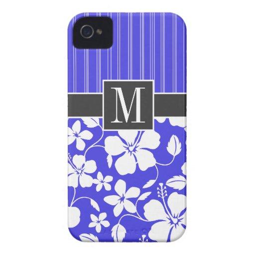 Trendy Blue Hibiscus Flower Case-Mate iPhone 4 Case