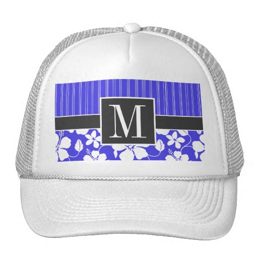 Trendy Blue Hibiscus Flower Trucker Hats