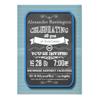 Trendy Blue Neon Chalkboard Birthday Party Invite