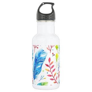 Trendy Blue-Orange Floral Boho Feather Pattern 532 Ml Water Bottle