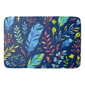 Trendy Blue-Orange Floral Boho Feather Pattern Bath Mats