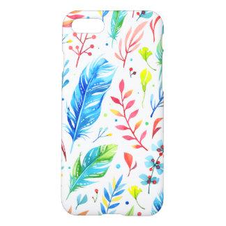 Trendy Blue-Orange Floral Boho Feather Pattern iPhone 7 Case