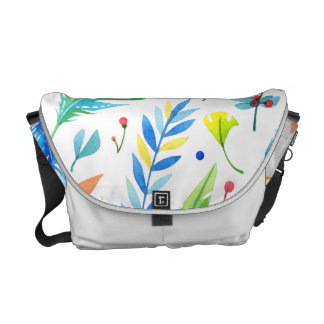Trendy Blue-Orange Floral Boho Feather Pattern Messenger Bag