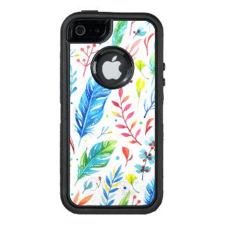 Trendy Blue-Orange Floral Boho Feather Pattern OtterBox Defender iPhone Case