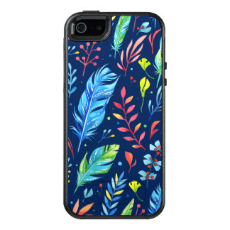 Trendy Blue-Orange Floral Boho Feather Pattern OtterBox iPhone 5/5s/SE Case