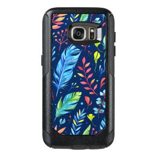 Trendy Blue-Orange Floral Boho Feather Pattern OtterBox Samsung Galaxy S7 Case