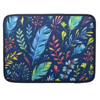 Trendy Blue-Orange Floral Boho Feather Pattern Sleeve For MacBooks