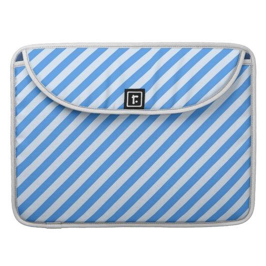 Trendy  Blue & White Modern Stripes Pattern MacBook Pro Sleeves