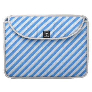 Trendy  Blue & White Modern Stripes Pattern Sleeve For MacBooks