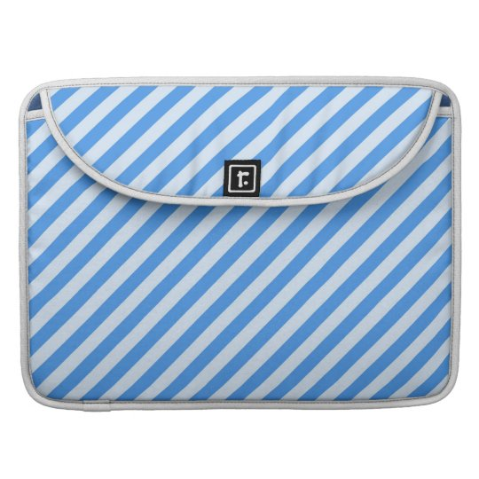 Trendy  Blue & White Modern Stripes Pattern Sleeve For MacBooks