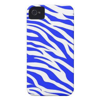 Trendy Blue White Zebra Stripes Wild Animal Prints iPhone 4 Cover