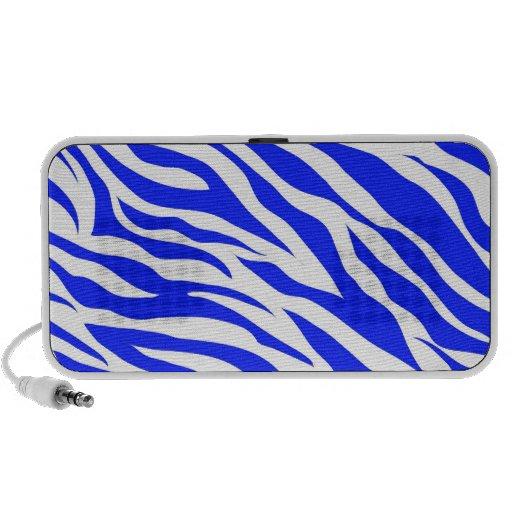 Trendy Blue White Zebra Stripes Wild Animal Prints iPhone Speakers
