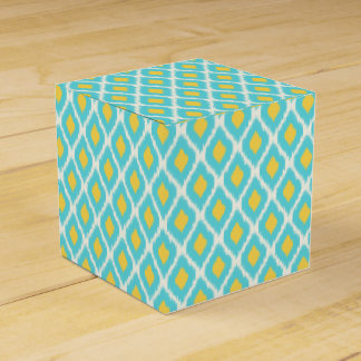 Trendy Blue Yellow Aztec Ikat Tribal Pattern Favour Box