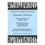 Trendy Blue Zebra Boy Baby Shower Personalized Invitations