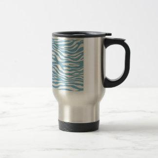 Trendy Blue Zebra Print Pattern Coffee Mugs