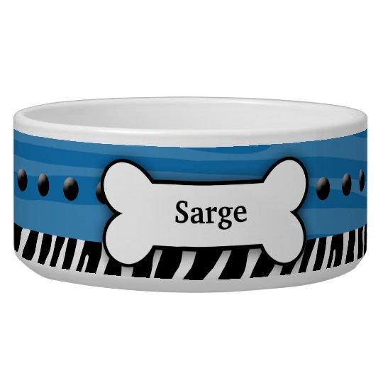 Trendy Blue Zebra Stripe Custom Pet Dog Food Bowl
