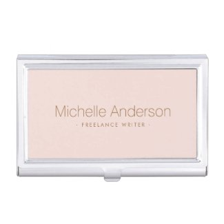 Trendy blush pink personalised name business card holder