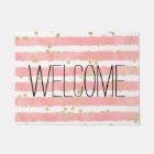 Trendy blush pink watercolor stripes gold confetti doormat