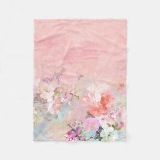 Trendy blush watercolor ombre floral watercolor fleece blanket