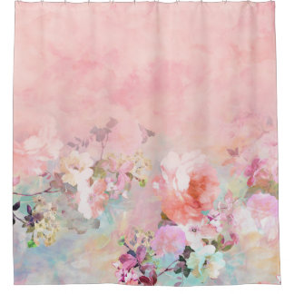Trendy blush watercolor ombre floral watercolor shower curtain