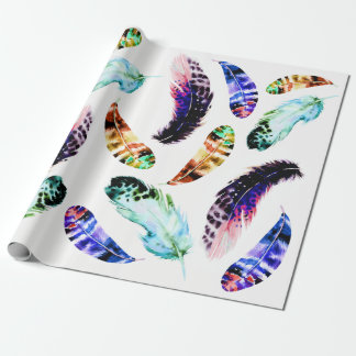 Trendy Bohemian Colorful Watercolor Feathers Wrapping Paper